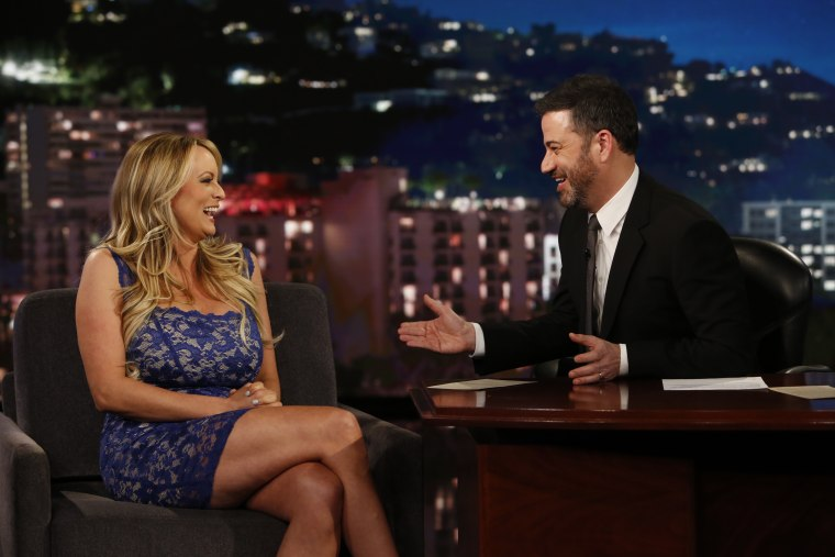 "Adult film star Stormy Daniels plays coy with host Jimmy Kimmel during an appearance on ""Jimmy Kimmel Live!"" on Tuesday night in Los Angeles."