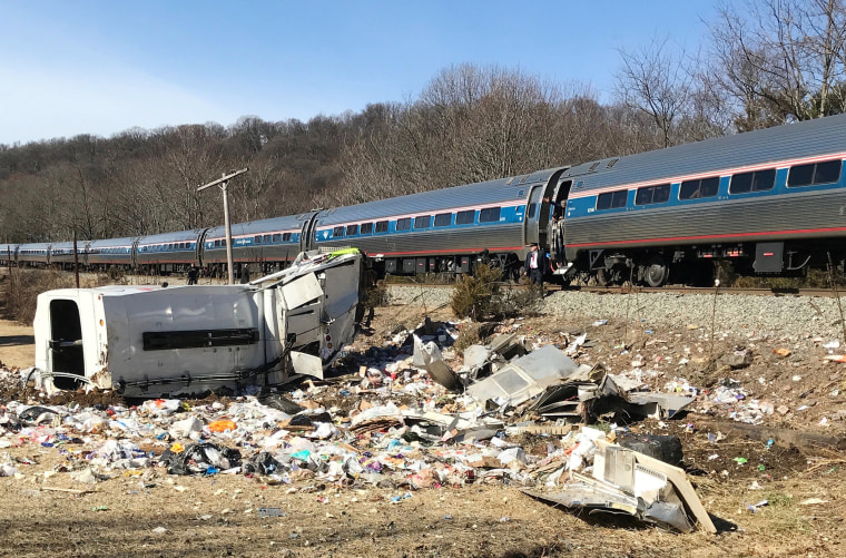 Image: An Amtrak passenger train carrying Republican members of Congress is seen after colliding with a garbage truck in Crozet, Virginia