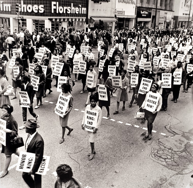 Image: Memorial March After Assassination of Martin Luther King, Jr., Main Street, Memphis, April 8, 1968.