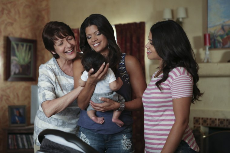 """Ivonne Coll as Alba, Andrea Navedo as Xo and Gina Rodriguez as Jane on The CW's """"Jane the Virgin"""""""