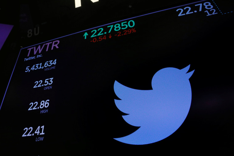 Image: The Twitter logo and stock prices are shown above the floor of the New York Stock Exchange shortly after the opening bell in New York