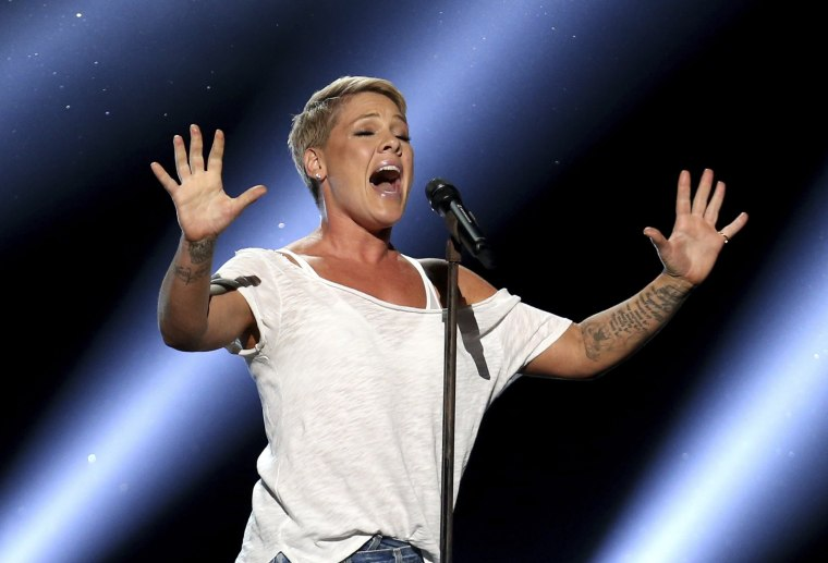 """Image: Pink performs \""""Wild Hearts Can't Be Broken\"""" at the 60th annual Grammy Awards at Madison Square Garden on Sunday, Jan. 28, 2018, in New York."""