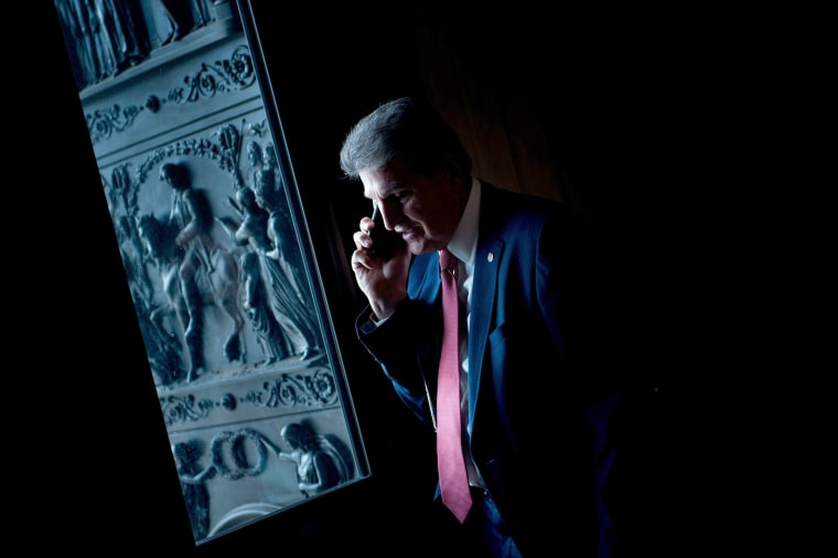 Image: Senator Joe Manchin III (D-WV) speaks on the phone before a meeting with Senate Democrats on Capitol Hill on Jan. 22, 2018 in Washington, DC.