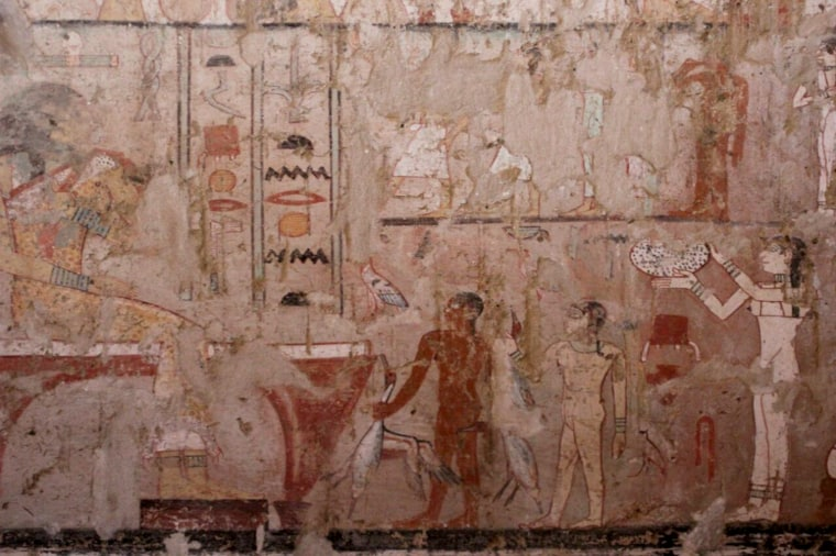 """Images painted in the tomb of a royal palace official believed to be known as """"Hetpet."""""""