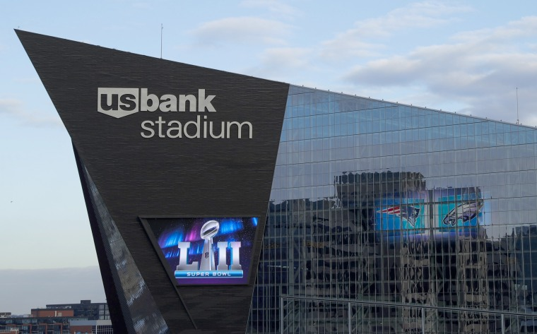 Image: U.S. Bank Stadium ahead of Super Bowl Sunday, on Jan. 31, 2018, in Minneapolis.