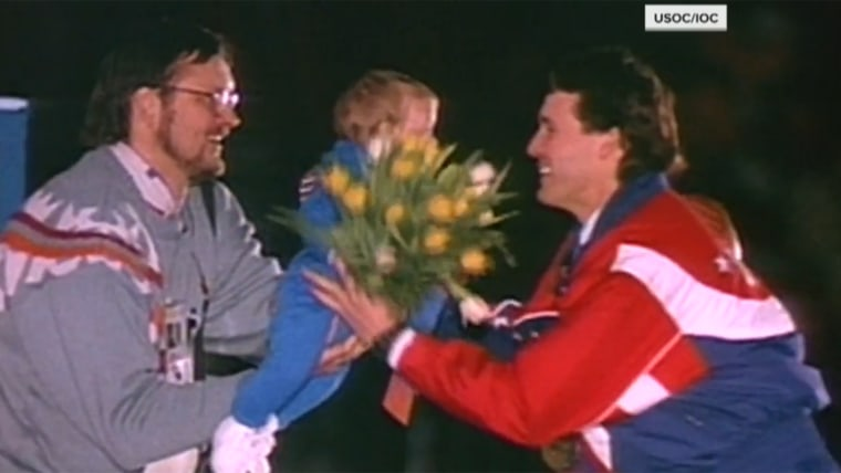 Dan Jansen's with his daughter for his victory lap.