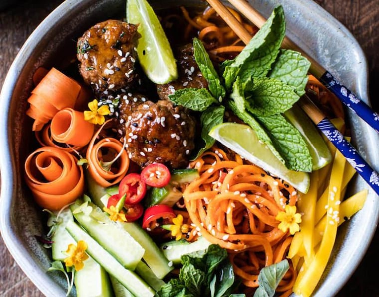 Vietnamese Meatball and Sweet Potato Noodle Bowl