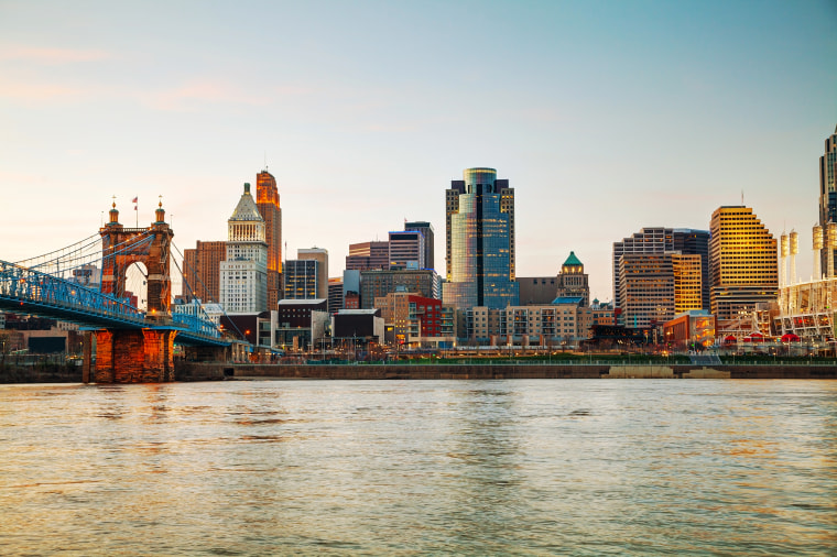 Dawn over downtown Cincinnati.