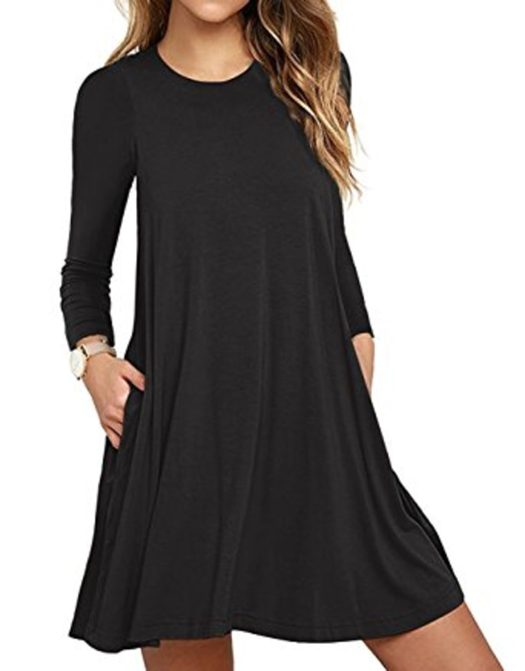 Unbranded* Women's Long Sleeve Pocket Casual Loose T-Shirt Dress