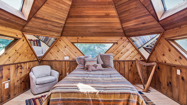 The geometric trend continues into the bedroom.
