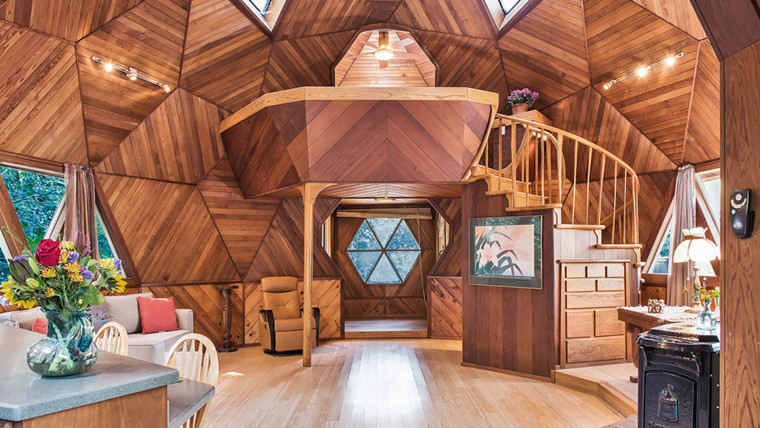 The wood paneling covers the entire interior.