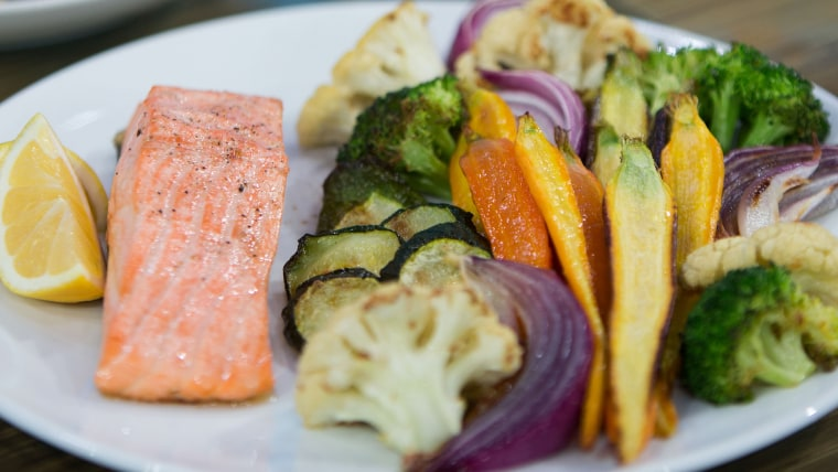 Joy Bauer and Jean Chatzky's Salmon with Roasted Vegetables