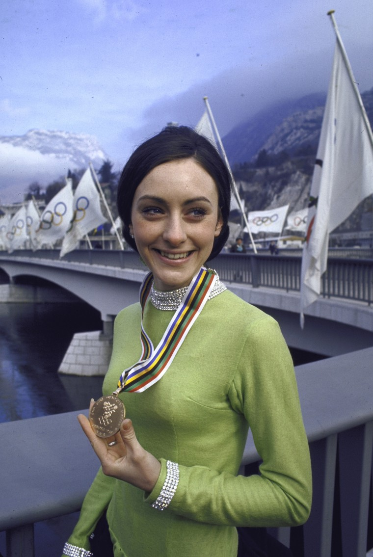 Peggy Fleming with her Olympic gold medal in 1968.