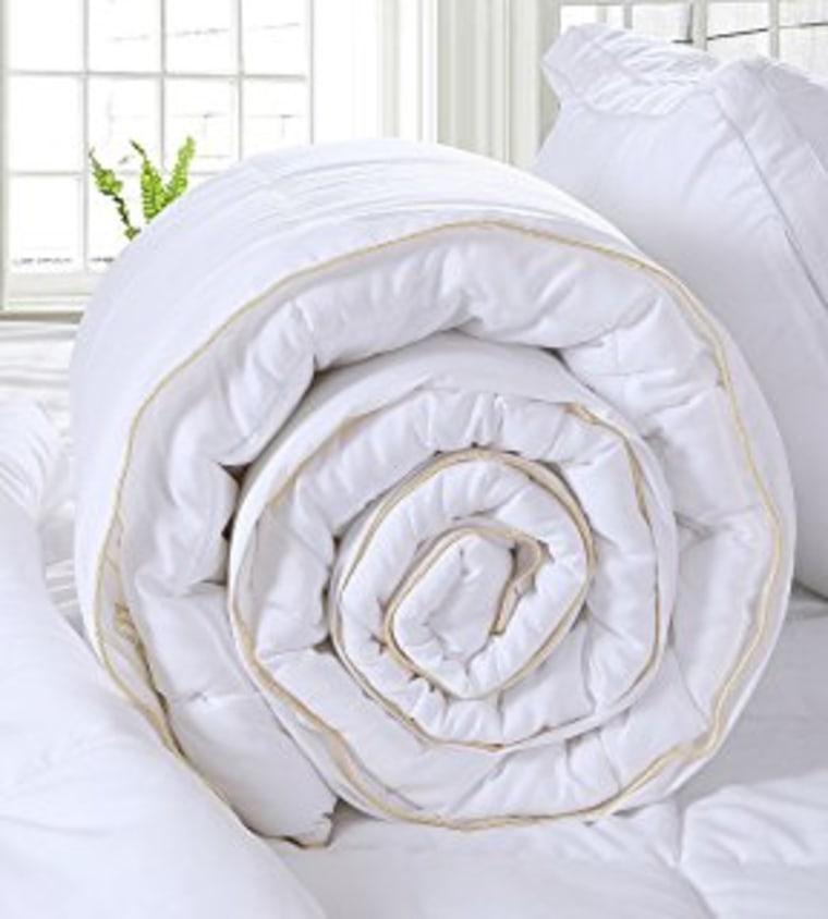 Equinox alternative down comforter rolled up