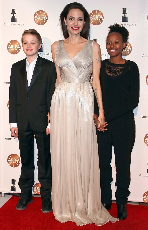 Shiloh Nouvel Jolie-Pitt, actress Angelina Jolie and Zahara Marley Jolie-Pitt