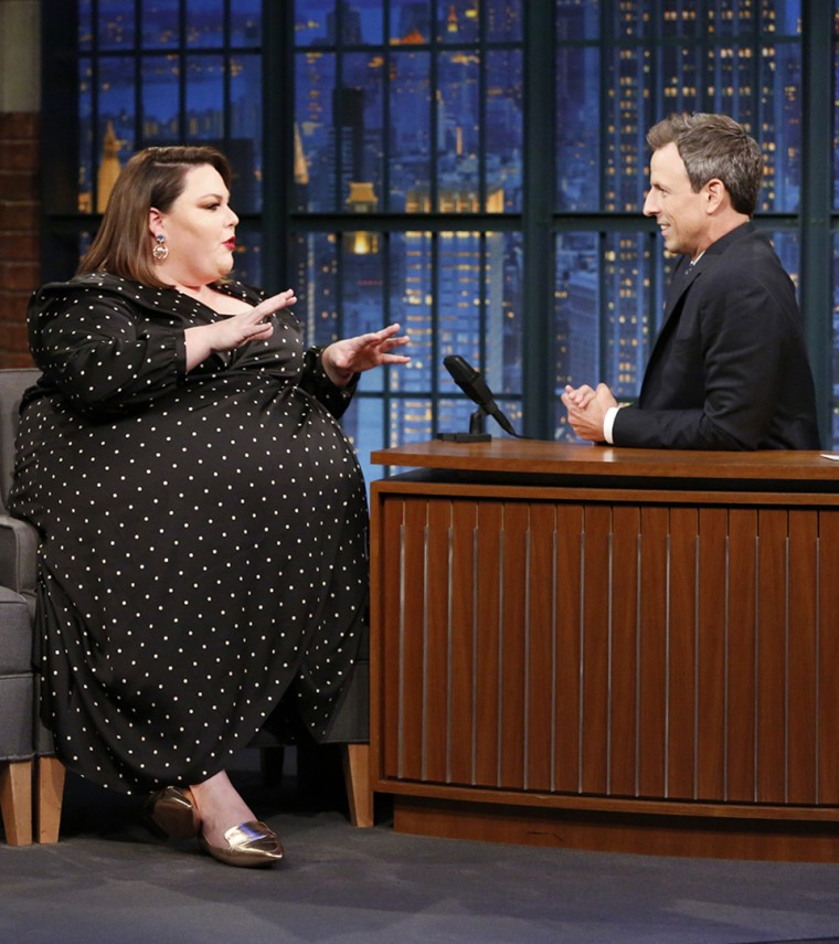 Actress Chrissy Metz talks with host Seth Meyers