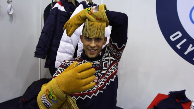 """I've never had gloves that would give me bangs,"" laughed figure skater Adam Rippon of the boldly fringed design."