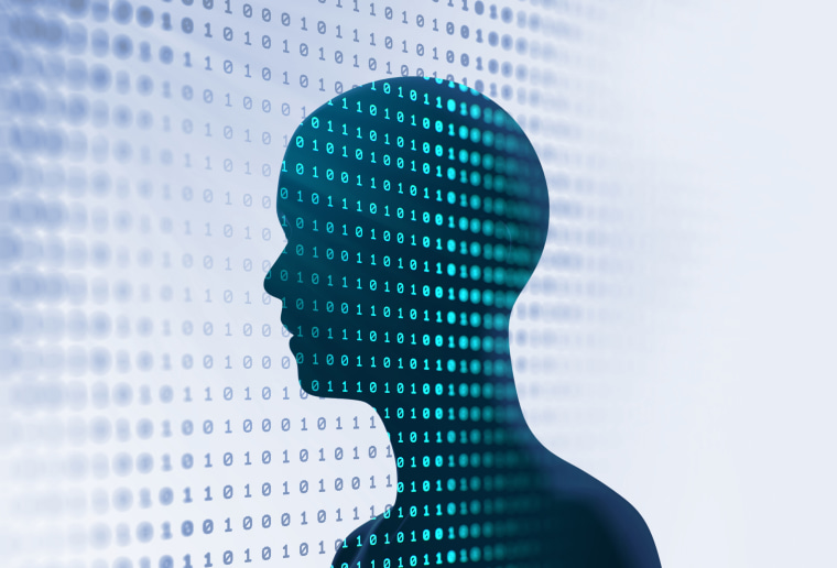 silhouette of virtual human on abstract technology illustration