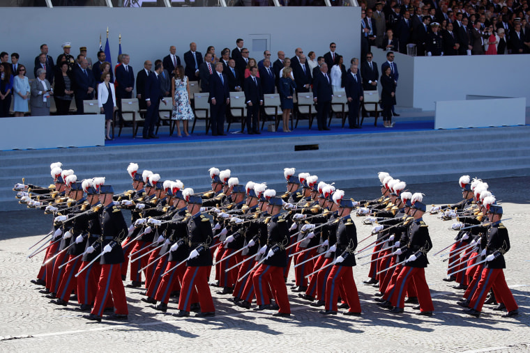 Students of the special military school of Saint-Cyr march on the Place de la Concorde during the traditional Bastille Day military parade on the Champs-Elysees in Paris, France, July 14, 2017. REUTERS/Charles Platiau