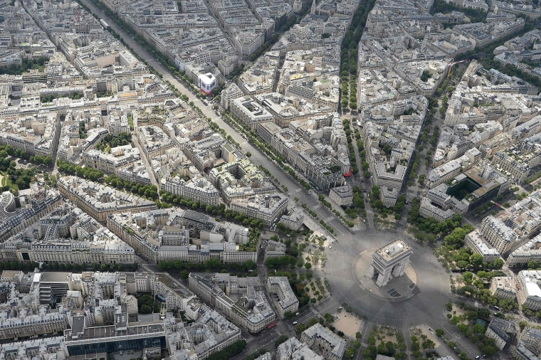 An aerial view shows the Arc de Triomphe before the annual Bastille Day military parade on the Champs-Elysees avenue in Paris on July 14, 2017.