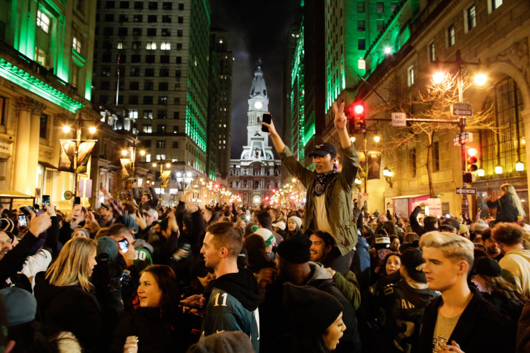 Image: Philadelphia Eagles' Fans Gather To Watch Their Team In Super Bowl LII Against The New England Patriots