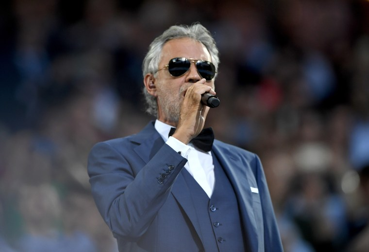 Image: Andrea Bocelli performs during the Champions League final opening ceremony