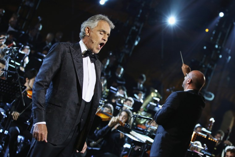 Image: Andrea Bocelli performs during Celebrity Fight Night