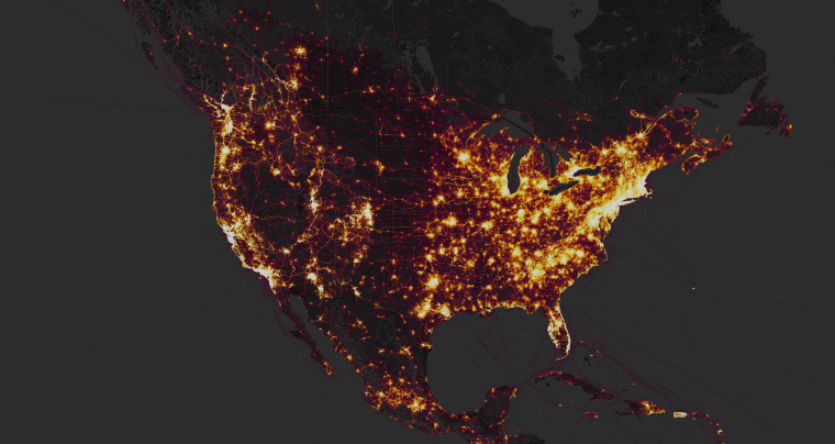 Image: The Strava global heatmap shows public activity shared on the app