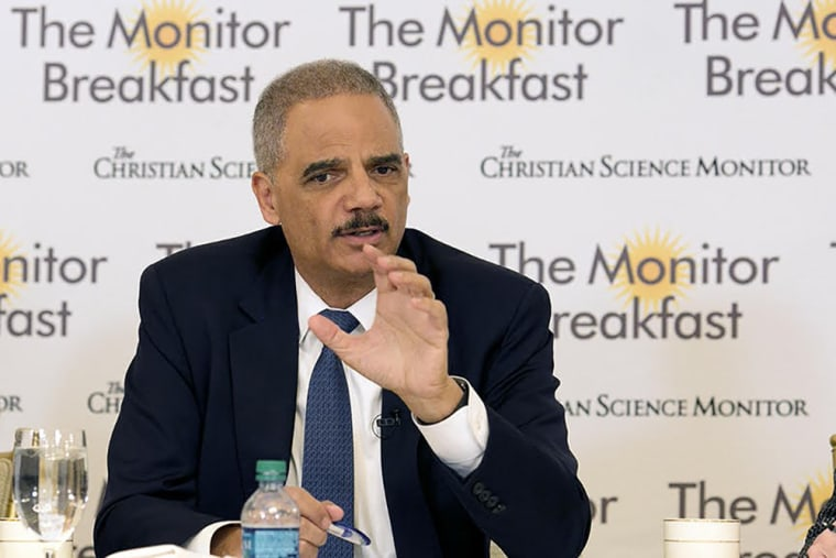 Image: Eric Holder speaks during the Christian Science Monitor breakfast