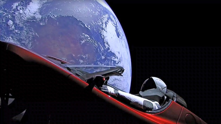 "Image: ""Starman"" sits in a Tesla Roadster"