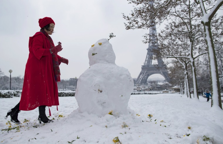 A snowman in Trocadero, near the Eiffel Tower, in Paris on Feb. 7.