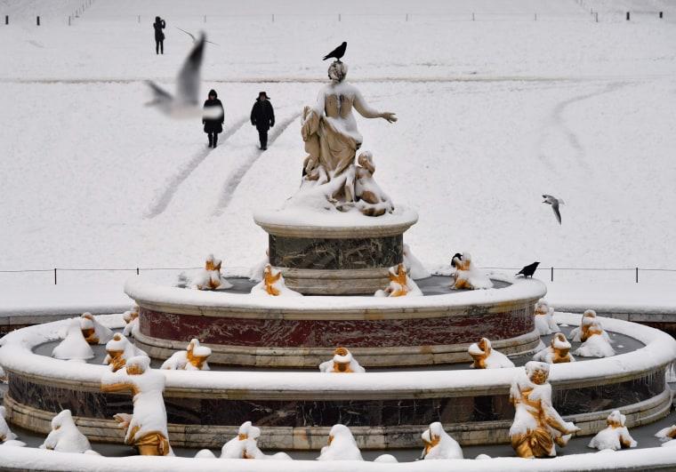 The Bassin de Latone in the gardens of Versailles on Feb. 7.