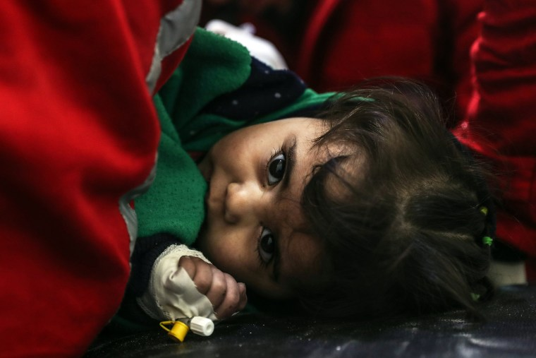 An injured girl receives treatment at the Red Crescent center in Douma on Feb. 7.