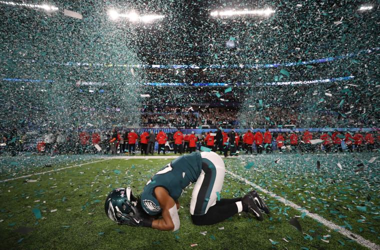 Philadelphia Eagles Patrick Robinson celebrates winning Super Bowl LII