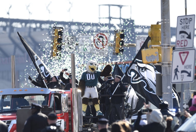Philadelphia Eagles NFL football team mascot Swoop waves during the Super Bowl LII victory parade on Feb 8, 2018, in Philadelphia.