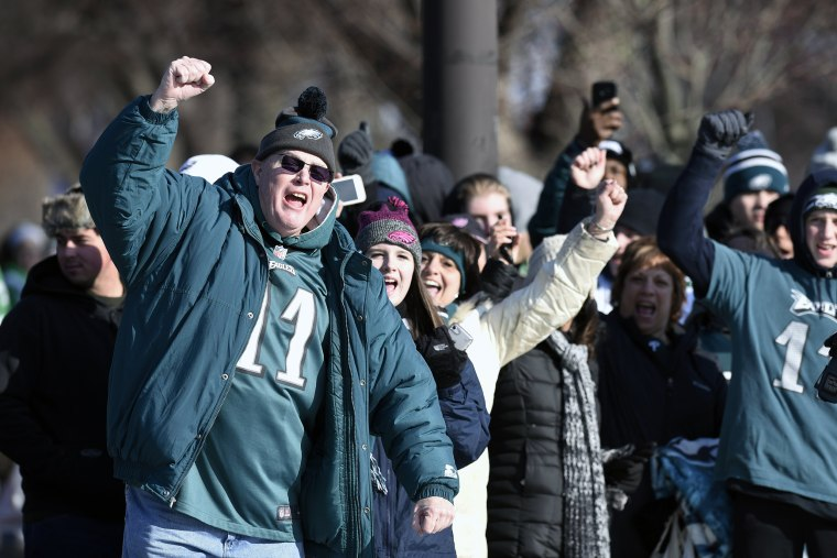 Philadelphia Eagles NFL football team fans celebrate during the Super Bowl LII victory parade on Feb 8, 2018, in Philadelphia.