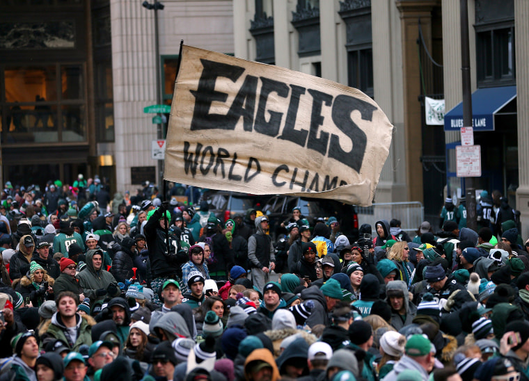 Philadelphia Eagles fans gather in front of City Hall during their team's Super Bowl Victory Parade on Feb. 8, 2018 in Philadelphia.