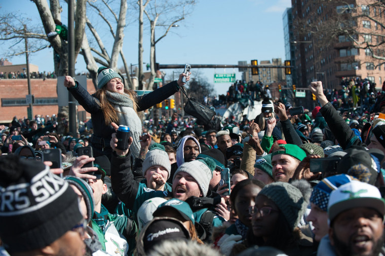 Fans gather to cheer the Philadelphia Eagles as they held their Super Bowl victory parade through the city on Feb. 8, in Philadelphia.