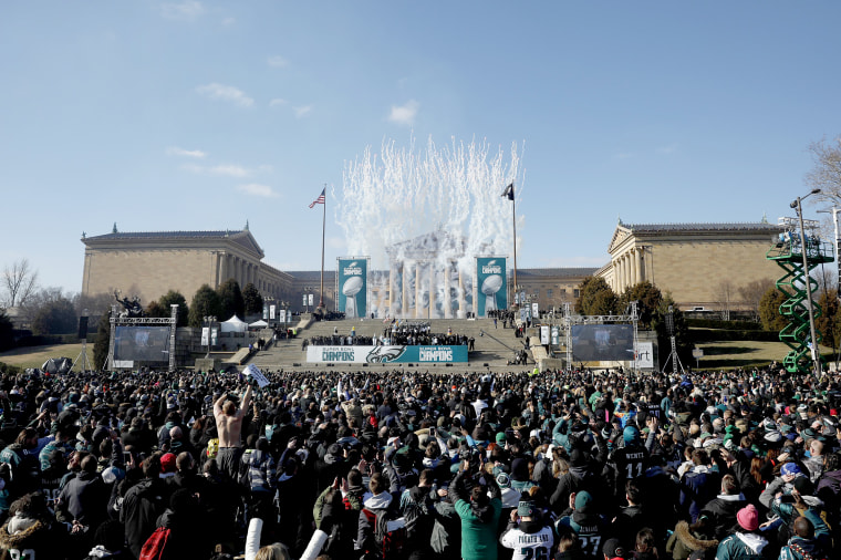 Fans celebrate during the Philadelphia Eagles Super Bowl ceremony on Feb. 8, 2018 in Philadelphia.
