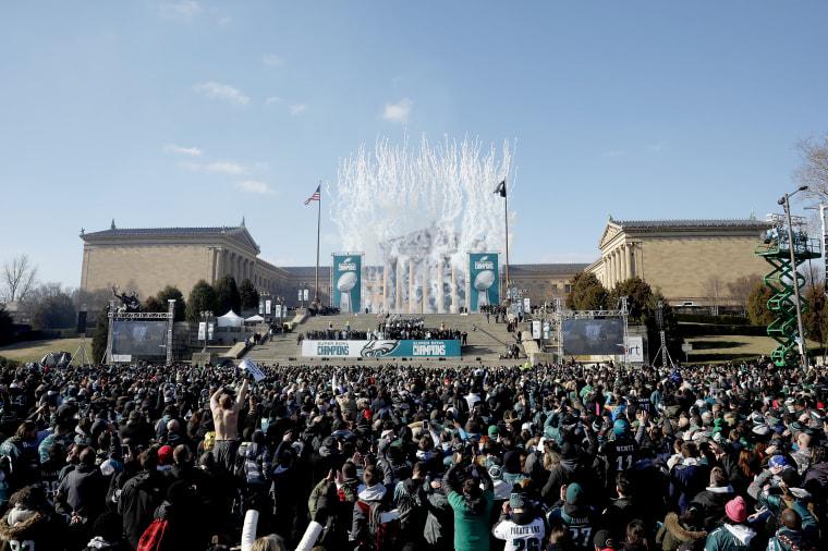 Fans celebrate during the Philadelphia Eagles Super Bowl ceremony on Feb. 8, 2018 in Philadelphia.