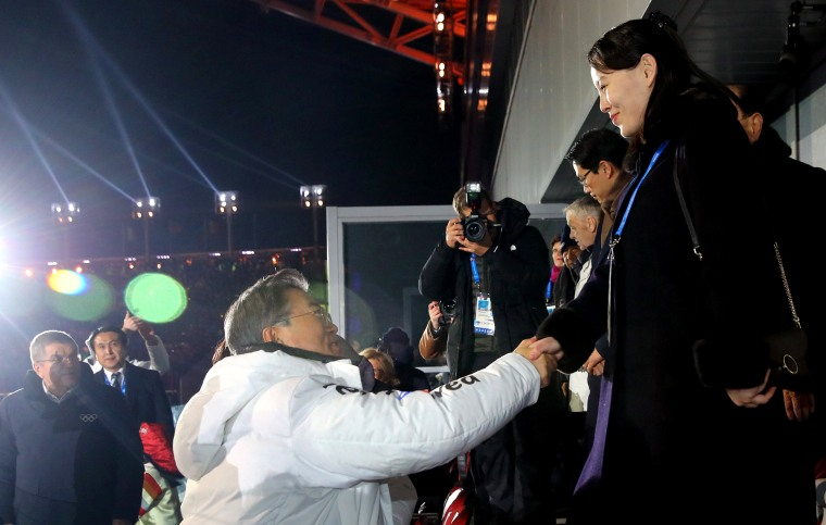 South Korean President Moon Jae-in shakes hands with North Korean leader Kim Jong-un's sister, Yo-jong, during the opening ceremony of the PyeongChang 2018 Olympic Games, in South Korea, on Feb. 9, 2018.