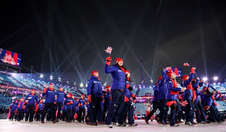 Members of Team Great Britain enter the stadium.
