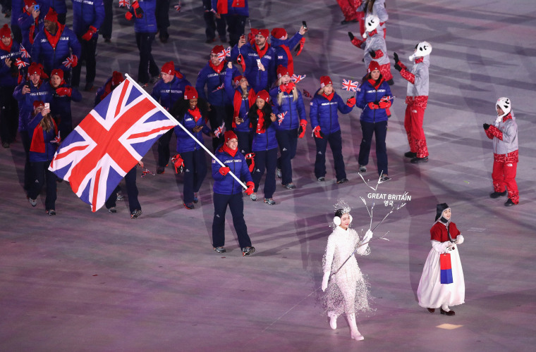 Flagbearer Lizzy Yarnold leads the Great Britain delegation.