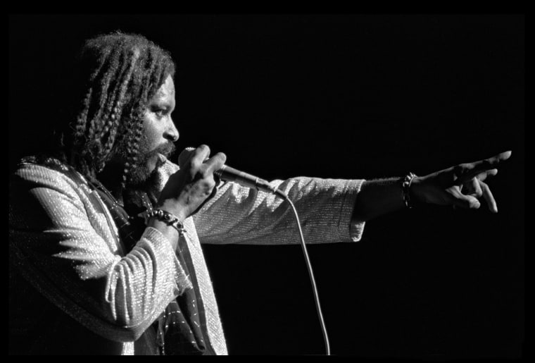 Image: Singer James Mtume of the R and B/Soul group Mtume performs onstage at the Hammersmith Odeon on Jan. 27, 1985, in London, England.