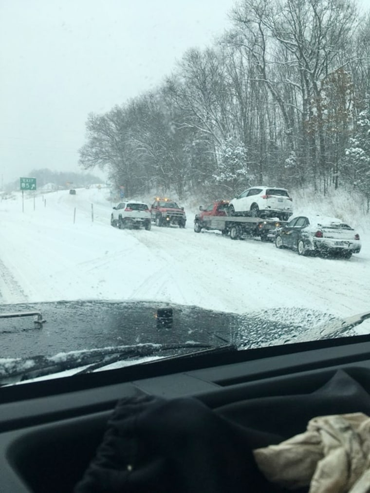 Image: Multiple cars are involved in a pileup off the Galesburg exit on I-94, just east of Kalamazoo, in Michigan, on Feb. 9, 2018.