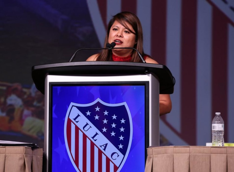 Abigail Zapote, LULAC's national vice president for young adults, speaks at the 2017 LULAC national convention in San Antonio in July 2017.