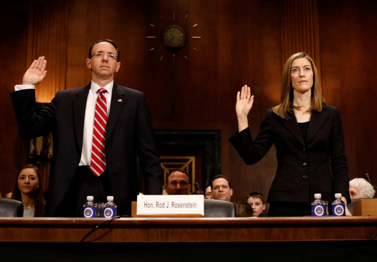 Image: Justice Department nominees Rosenstein and Brand are sworn in before the Senate Judiciary Committee