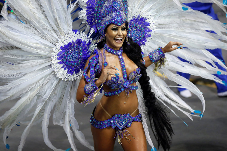 A member of the samba school Grupo Especial Rosas de Ouro takes part in the carnival celebration at the Anhembi sambodrome in Sao Paulo, Brazil, on Feb. 10. 2018.