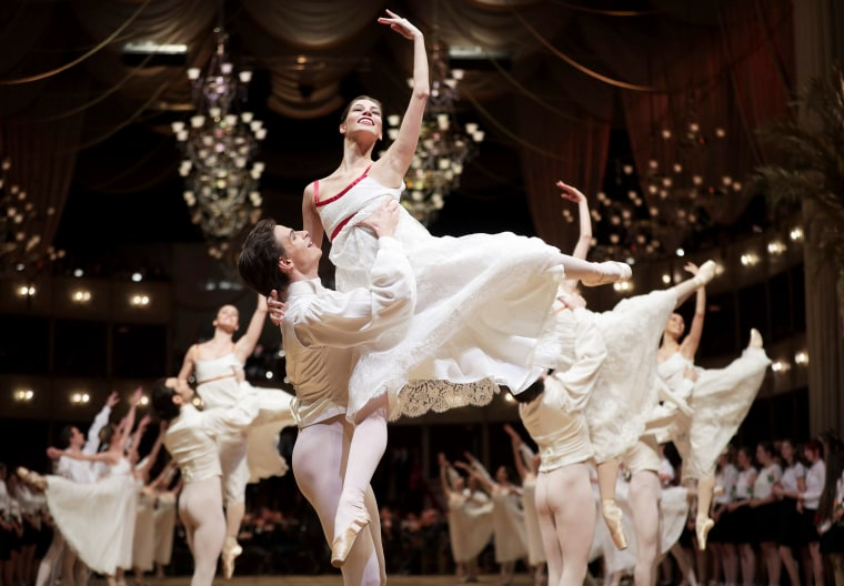 Dancers perform during a rehearsal on the eve of the Opera Ball 2018, the sumptuous highlight of the Austrian capital's ball season, on Feb. 7, 2018 at the State Opera House in Vienna.