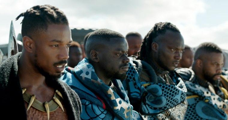 Image: Stars of Marvel Studios' Black Panther Erik Killmonger (Michael B. Jordan) and W'Kabi (Daniel Kaluuya) with some of his border tribesman.